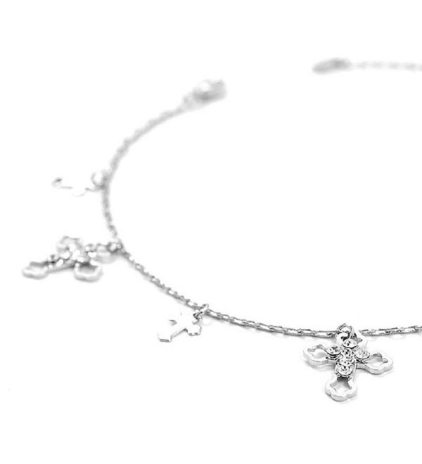 Glamorousky Elegant Cross on Anklet with Silver Austrian Element Crystals (1856) - CR118SOEGVL