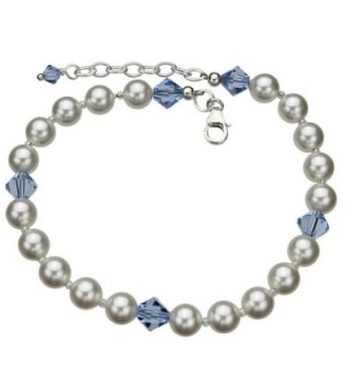 "Sterling Silver Bracelet- Simulated Pearls Made with Swarovski Crystals 7""+1"" Extender - CL11GJRKGLD"