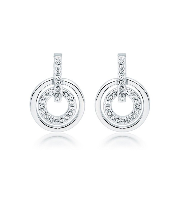 MYJS Circle Rhodium Plated Classic Earrings with Clear Swarovski Crystals - CL123CPFF8N