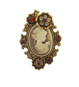 Lux Accessories Antique Vintage Cameo Brooch Burnished Metal Pave Stones - Brown Cameo Burnished Gold - CV12OC28U70