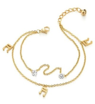 Steel Gold Color Two-row Anklet Bracelet with Dangling Charms of Music Note and Cubic Zirconia - CU18443UYIQ