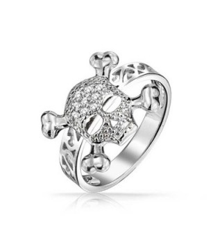 Bling Jewelry Skull Crossbones Filigree Band Sterling Silver Ring - CY11D3UKNCL