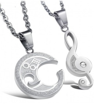 Jstyle Jewelry Stainless Steel Best Friend Puzzle Pendant-Music Note Engraved-with Chain - CP11QLD0VWT