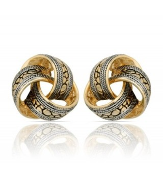 JanKuo Jewelry Two Tone Bali Antique Style Knot Clip On Earrings - C21198H849H