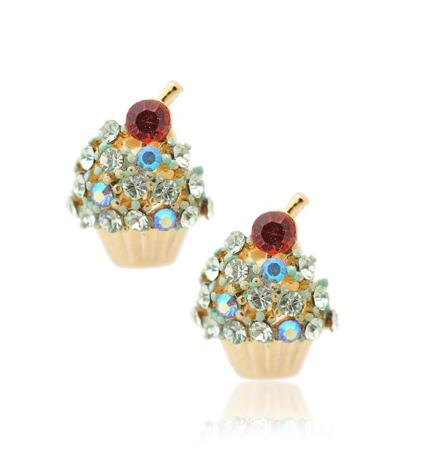 Spinningdaisy Crystal Cherry on the Top Cupcake Earrings (Lime) - CT110SSAPNR
