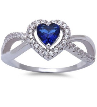 Simulated Blue Sapphire & Cubic Zirconia Heart .925 Sterling Silver Ring Sizes 5-10 - C211O5BYHQZ