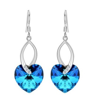 EleQueen Sterling Earrings Swarovski Crystals - Bermuda Blue - C412H49B0F5