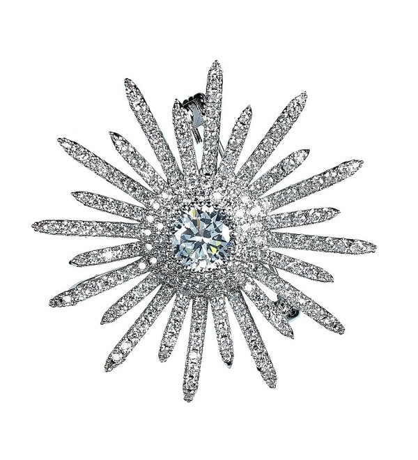 Dreamlandsales Bling Micro Pave Round Shaped Star Burst Brooches Silver - C412OHUXHUN
