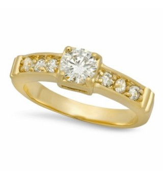 The Bling Factory 5.5mm Gold Plated Small Round CZ Solitaire Ring w/CZ Band + Microfiber Jewelry Polishing Cloth - CS125L67NXV