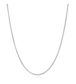BERRICLE Italian Rhodium Plated Sterling Silver Rolo Chain Necklace 1mm - C311WG3RYRX
