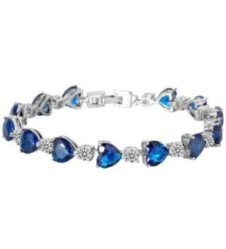 EleQueen Silver tone Zirconia Bracelet Sapphire - Sapphire Color - CE126TM6R6F