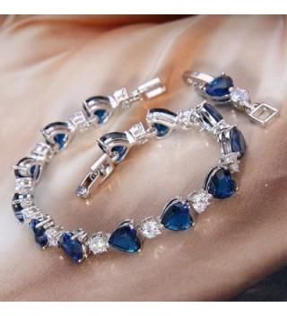 EleQueen Silver tone Zirconia Bracelet Sapphire