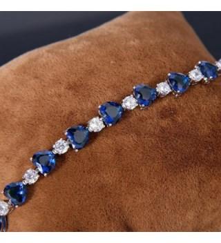 EleQueen Silver tone Zirconia Bracelet Sapphire in Women's Tennis Bracelets