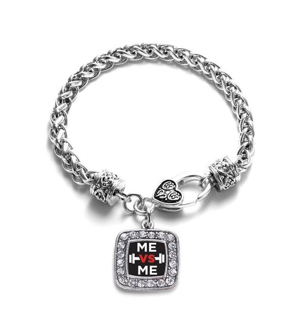 Me vs Me Classic Silver Plated Square Crystal Charm Bracelet - CM11U7O4Q5V