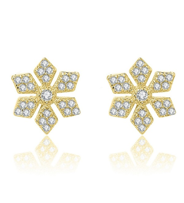 YAN & LEI Sterling Silver Snowflake with CZ Setting Stud Earrings - Golden - C212N20I2CF