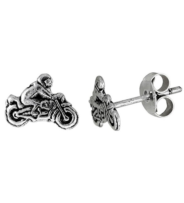 Tiny Sterling Silver MOTORCYCLE Stud Earrings 5/16 inch - CV111B24AUD