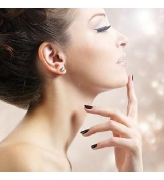 Harley Rhodium Earrings Swarovski Crystals in Women's Stud Earrings