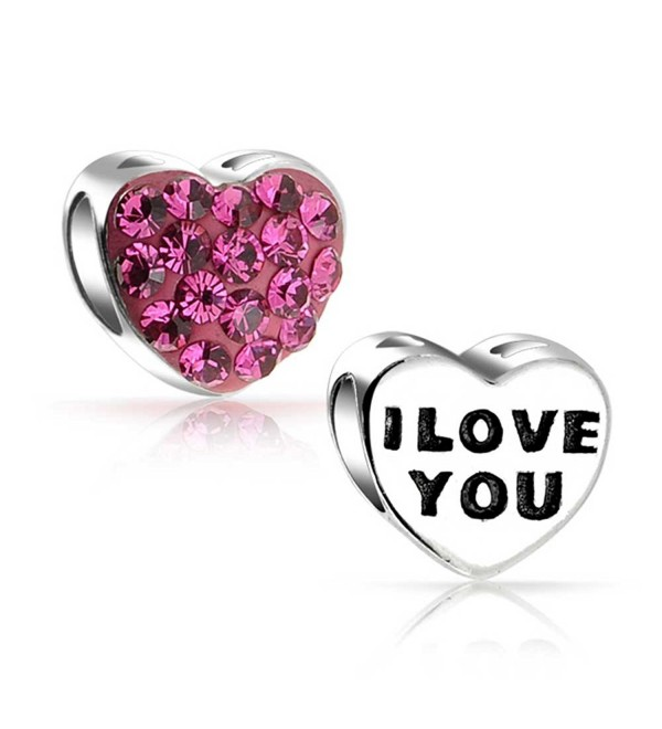 Bling Jewelry 925 Silver Pink Crystal I Love You Heart Bead Charm - CK110F7T7LX