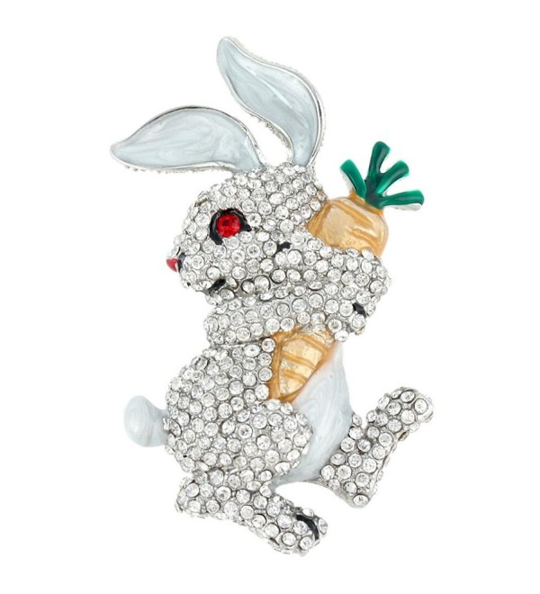 EVER FAITH Austrian Crystal Enamel Adorable Rabbit with Carrot Brooch Pendant - Clear Silver-Tone - CV11OQUDDFB