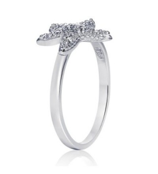 Sterling Silver Cubic Zirconia Starfish in Women's Band Rings