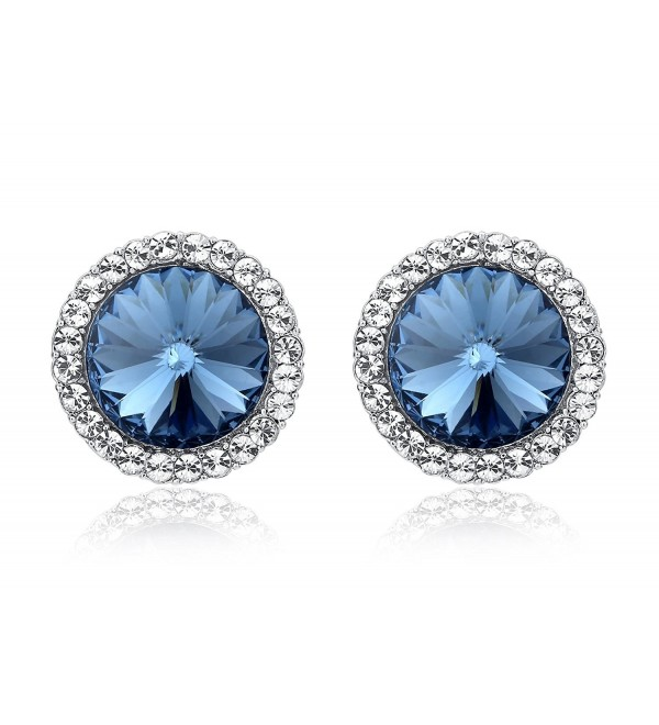 SBLING Platinum-Plated Halo Stud Earrings Made with Blue Swarovski Crystals (3.75ct) - CF1294CHAMB