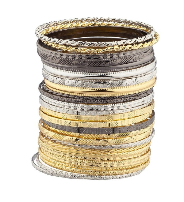 Lux Accessories Mixed Metal Textured Multiple Aztec Bangle Bracelet Set - CT127ZWVT61
