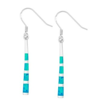 Sterling Silver Created Opal Long Dangle Earrings - Blue - C211Q94LRMN