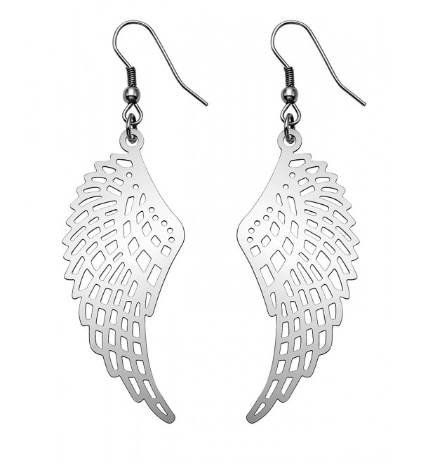 Stainless Steel Lightweight Openwork Angel Wings Wire Earrings - CR11Z85T96P