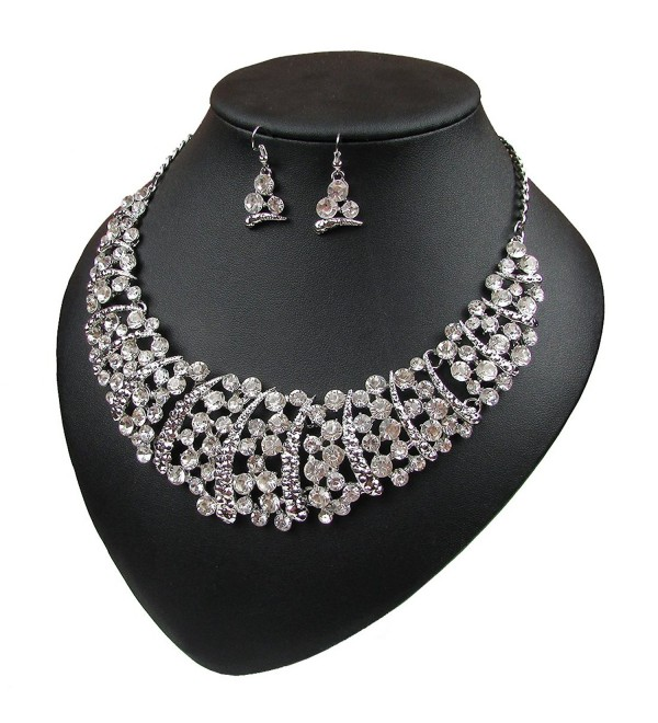 Women Luxury Rhinestone Choker Necklace and Earring Set Bride Jewellery Set - Silver - CD12MC43GS1