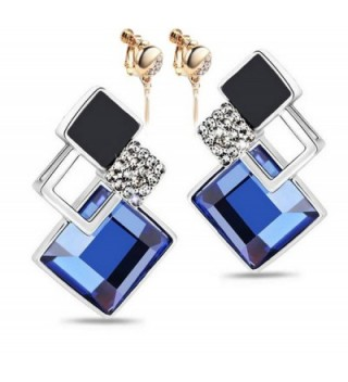 Modogirl Temperament Crystal Unique Ear Clip earrings deep blue - CM1234JBEMN