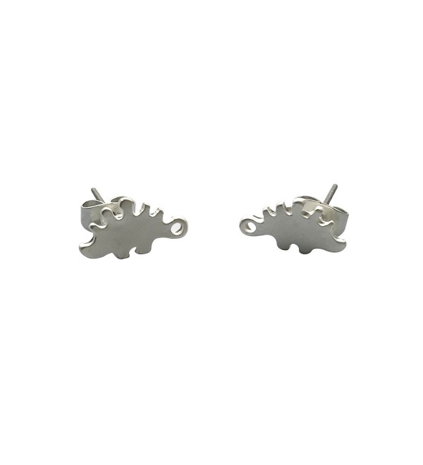 Katara Decor - Silver-plated Stegosaurus Dinosaur Minimalist Earrings - CT1883ZKL8A