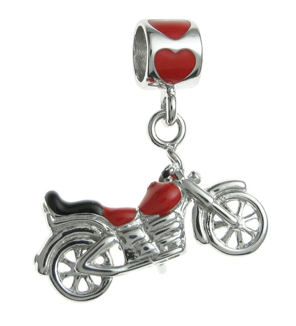 Rhodium-plated Sterling Silver Motorbike Enamel European Style Dangle Bead Charm - CC11APG4BTV