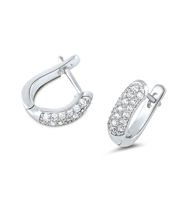 Sterling Silver Simulated Diamond 3 Row Domed Latch Back Earrings - CM120UILMWD