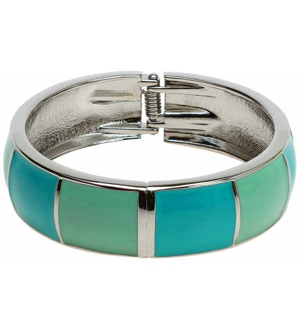 Lova Jewelry Bright Steel Blue Turquoise Aqua Mint Silver Tone Hinge Metal Bangle Bracelet - CI12NSX6MUV