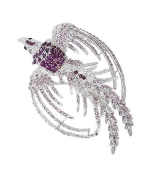 EVER FAITH Women's Austrian Crystal Flying Phoenix Rebirth Brooch Pin Purple Silver-Tone - C411DR32ES5