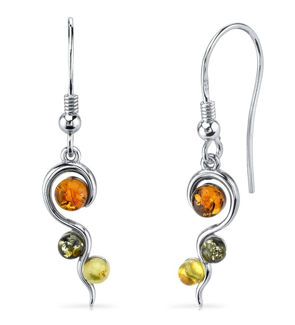 Baltic Amber Squiggle Earrings Sterling Silver Green Honey Cognac Colors - CR11Y5N1WC5