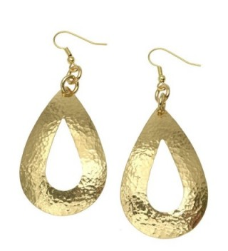 Hammered Nu Gold Brass Open Tear Drop Earrings By John S Brana Handmade Jewelry Brass Earrings - CN12B5MUWHT