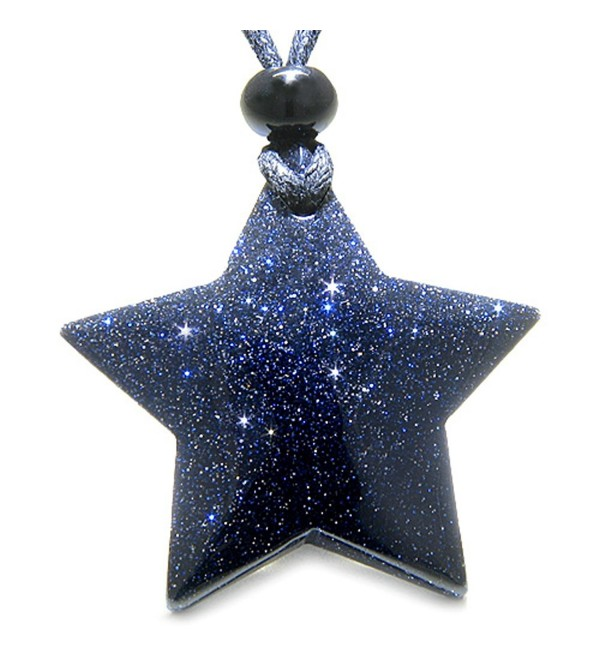 Amulet Magic Five Pointed Super Star Crystal Blue Goldstone Good Luck Pendant Necklace - CE110GS22RH