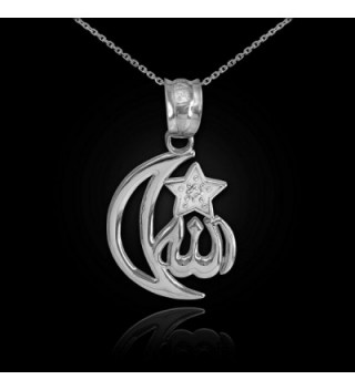 Sterling CZ Accented Islamic Crescent Necklace