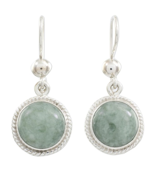 NOVICA Green Jade and .925 Sterling Silver Round Dangle Earrings- 'Mixco Moon' - C7127Y4P69V