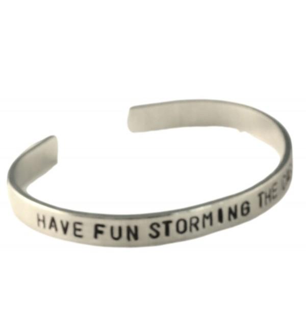 "Princess Bride Inspired Bracelet - Have Fun Storming the Castle - Hand Stamped 1/4"" Aluminum Cuff Bracelet - CZ11JPSJEED"