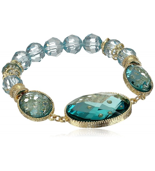 "1928 Jewelry ""Aqua Verde"" Gold-Tone Light Aqua Oval Faceted Stretch Bracelet- 7"" - CT11CISADFP"