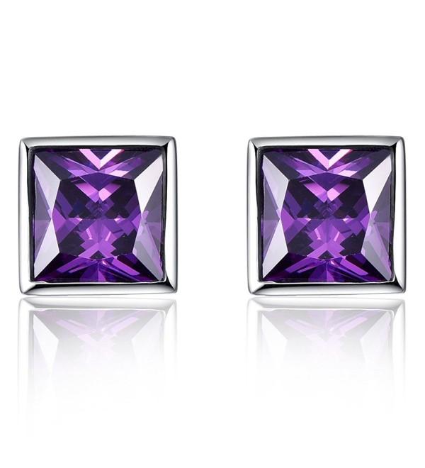 Merthus Womens 925 Sterling Silver Created Pink Topaz Princess Cut Stud Earrings - purple - CE186H7T638