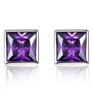Merthus Womens 925 Sterling Silver Created Pink Topaz Princess Cut Stud Earrings - purple - CE186H7T638