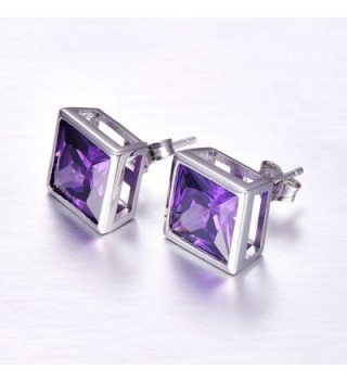 Merthus Sterling Amethyst Princess Earrings in Women's Stud Earrings