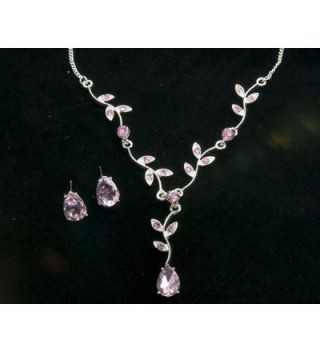 Pink Crystal Flower Necklace Earring