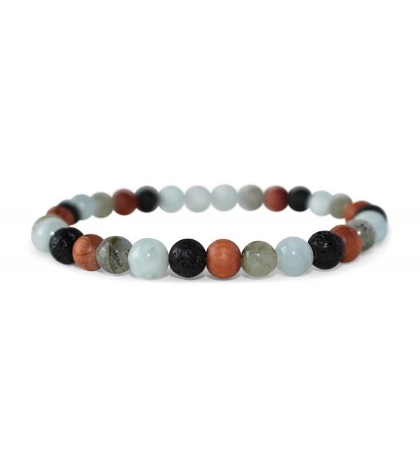 Leboha Multi Colored Essential Oil Bracelet 6mm Wood- Faceted Labradorite- Aquamarine- Black Lava Stone - CB17YC7H8EE