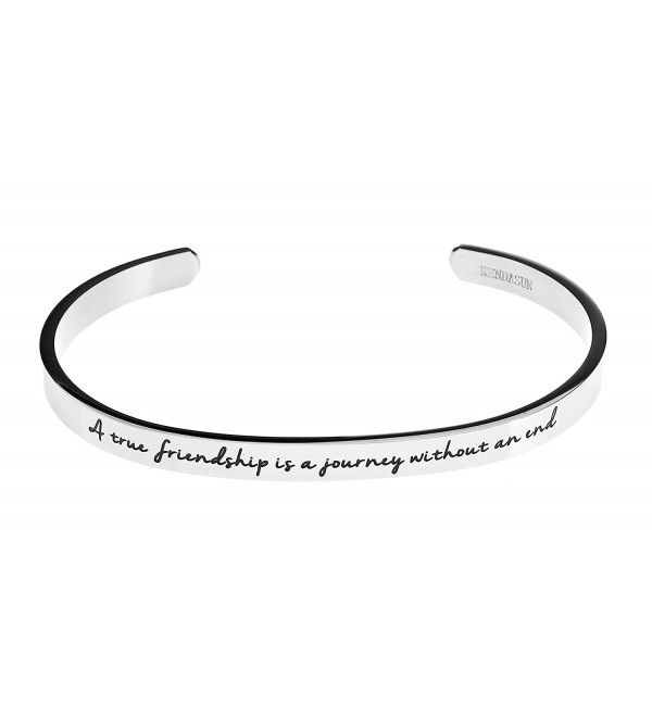 A true friendship is a journey without an end. Premium Stainless Steel Cuff Bangle Bracelet - White - C512IRT1X2V