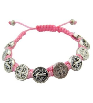 Silver Toned Base Saint Benedict Medal on Adjustable Cord Bracelet- 7 Inch - Pink - CM11TSWLTW1