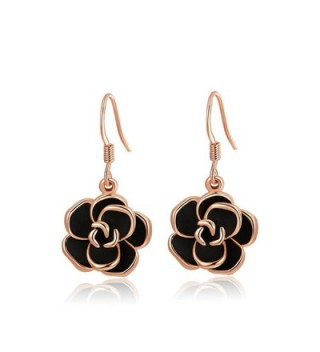 YEAHJOY Bling Jewelry Women's Platinum/Rose Gold Plated Black Rose Flower Hook Earrings - C317YLQR8N5